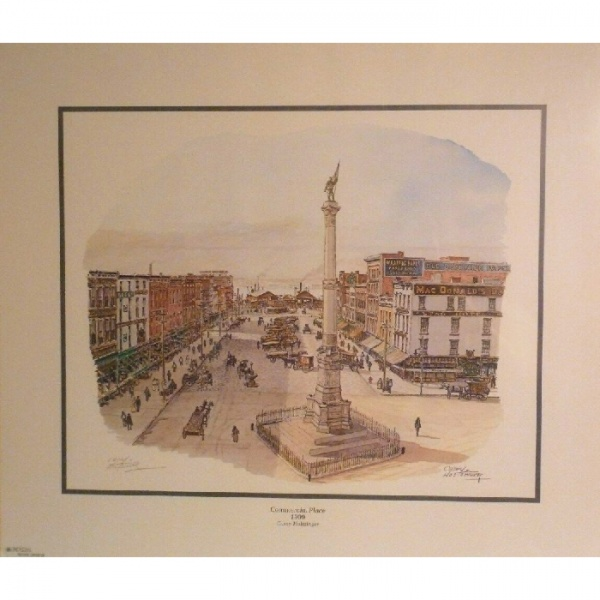 Casey Holtzinger, Commercial Place 1909, print, busy city street with monument