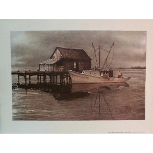 Kenneth Harris, Foggy Morning in Virginia, print, dock and fishing boat on bay