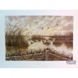 Kenneth Harris, Hunter_s View, print, marsh with birds and edge of hunter's stand