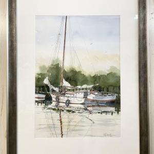 original watercolor painting of docked boat