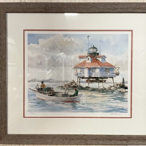 print of a watercolor lighthouse