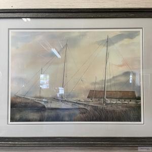 framed image of sailboats at dock