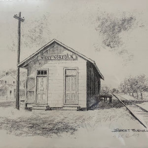 print of black and white drawing of small building by train tracks, West Norfolk Train Station by J. Robert Burnell