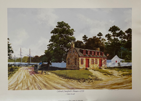 painting of historical brick house